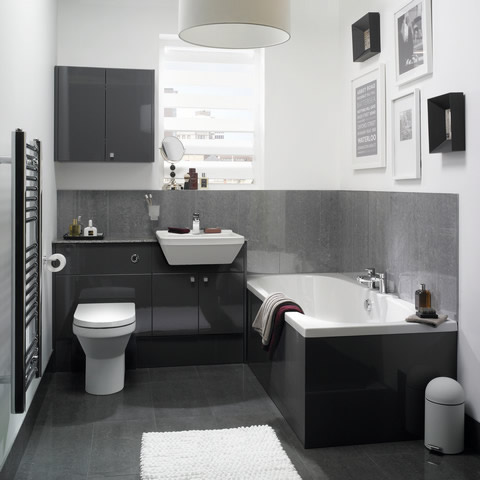 graphite grey gloss bathroom furniture Mereway