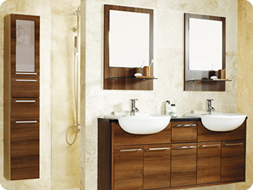 Walnut Gloss fitted bathroom furniture