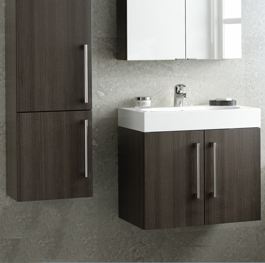 Novum Tempt Grey Oak Wallhung modular Bathroom Furniture